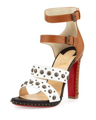 DecoDame Studded Red Sole Sandal, White/Cuoio