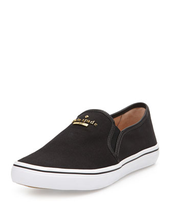 sylus canvas slip-on sneaker, black