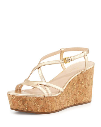 talanse strappy wedge sandal, gold