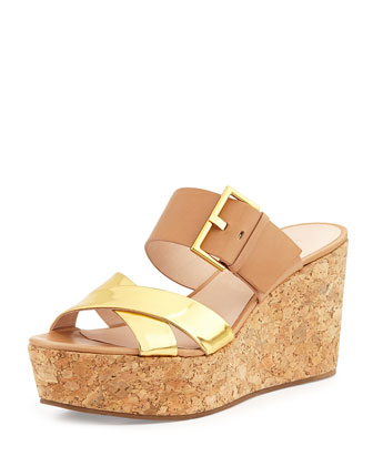 talula leather wedge sandal, natural