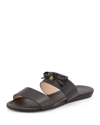 tulia leather bow slide sandal, black