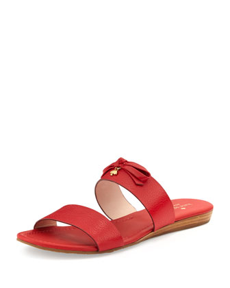 tulia leather slide sandal, maraschino red