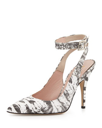 luminous snake-print ankle-wrap pump, white/black