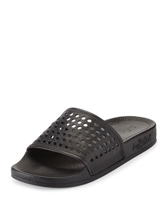 Cat Perforated Slide Sandal, Black
