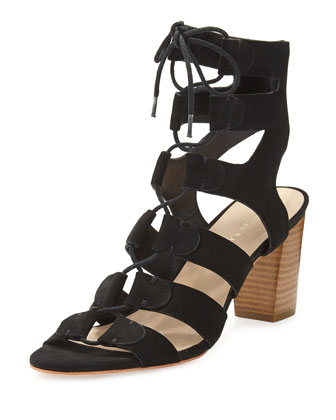 Thea Suede Lace-Up Sandal, Black