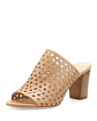 Shea Perforated Mule Slide, Buff