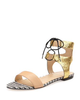 Alexa Mixed-Media Flat Sandal, Buff/Gold