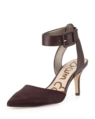 Okala Calf Hair Ankle-Wrap Pump