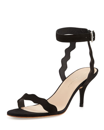 Reina Scalloped Nubuck Sandal, Black