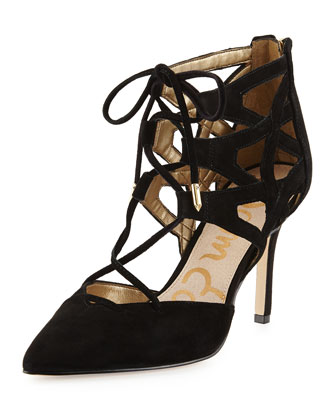 Zavier Caged Lace-Up Pump, Black