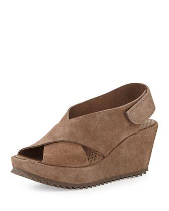 Federica Suede Wedge Sandal, Nut