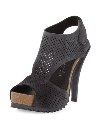 Petunia Perforated Suede Sandal, Coal