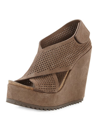 Trinidad Crisscross Wedge Sandal, Nut