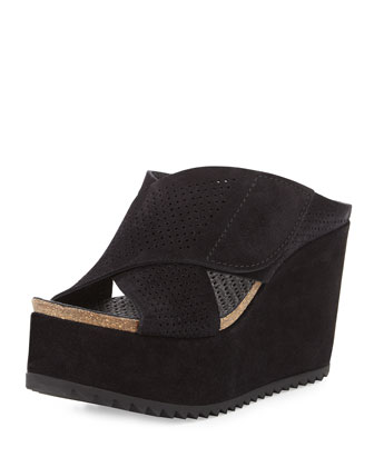 Dita Perforated Crisscross Wedge Mule, Black