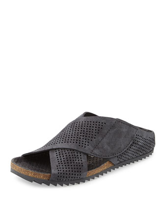 Alena Perforated Slip-On Sandal, Coal