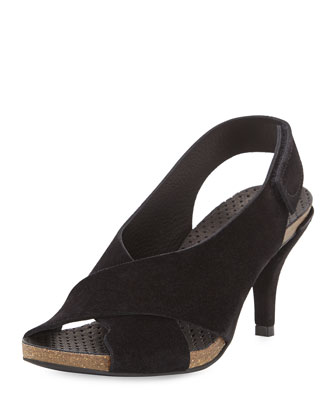 Mel Crisscross Low-Heel Sandal, Black