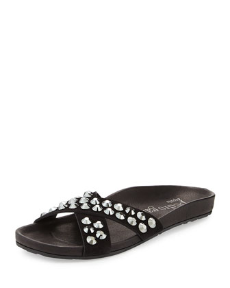 Analis Flat Crystal Slide Sandal, Black