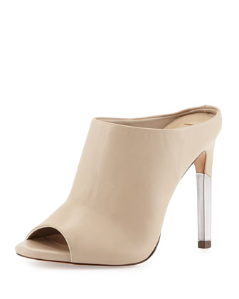Dena Leather Peep-Toe Mule, Soi Chia