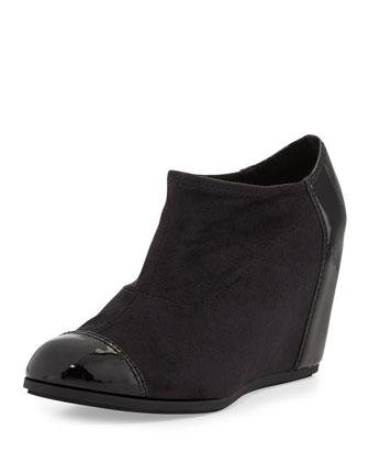 Daphne Suede/Patent Wedge Bootie, Black
