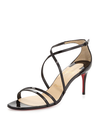 Gwinee Patent Crisscross Red Sole Sandal, Black