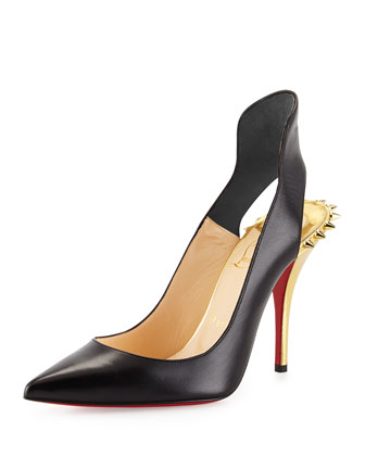 Survivita Leather Spike Red Sole Pump, Black/Gold