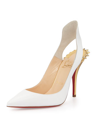 Survivita Spike Red Sole Pump, White/Gold