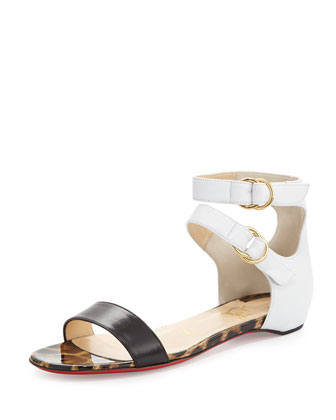 Tres Bea Red Sole Flat Sandal, Black/White