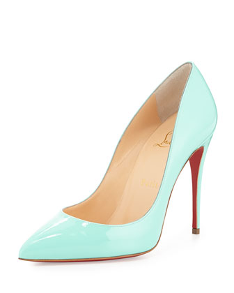 Pigalle Follies Patent Point-Toe Red Sole Pump, Opaline Turquoise