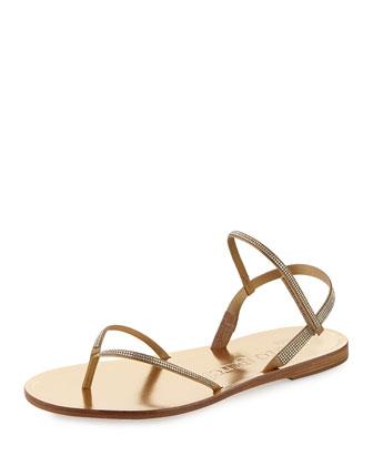 Iciar Flat Crystal Thong Sandal, Ore