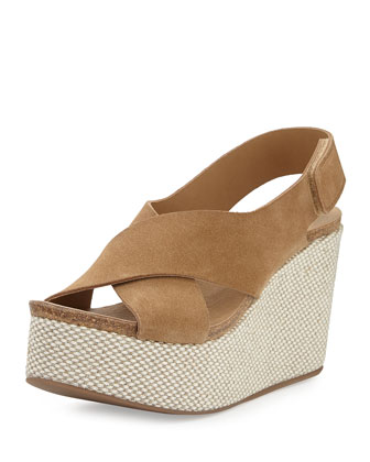 Denia Suede Crisscross Wedge, Camel
