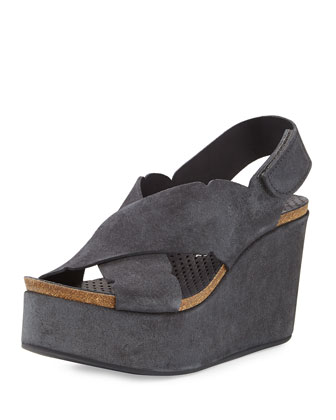 Dafne Suede Wedge Sandal, Coal