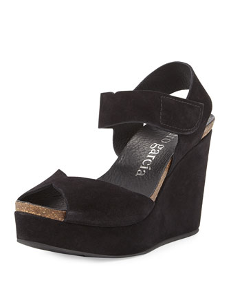Maby Suede Wedge Sandal, Black