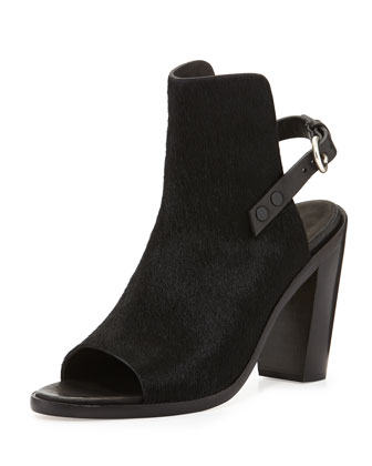 Wyatt Calf Hair Peep-Toe Bootie, Black