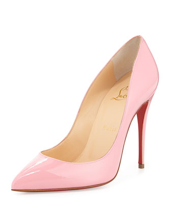 Pigalle Follies Patent Point-Toe Red Sole Pump, Rose