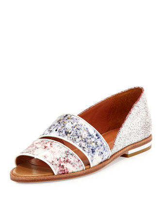 Sadie Floral-Print Leather Sandal