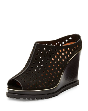Hudson Perforated Wedge Mule, Black