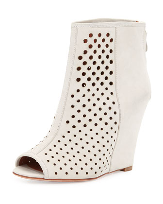 Sienna Perforated Open-Toe Wedge Bootie, Putty