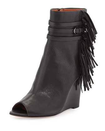 Stevie Fringe Peep-Toe Bootie, Black