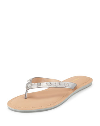 Fiona Studded Thong Sandal, Silver