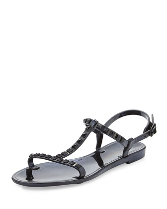 Sava Studded Jelly Sandal, Black