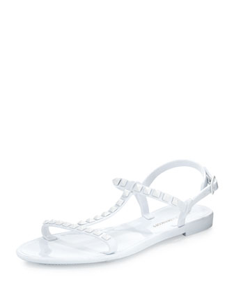Sava Studded Jelly Sandal, White