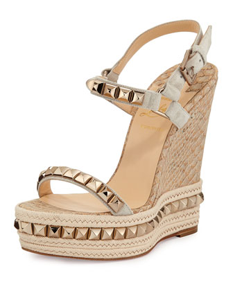 Cataclou Python-Embossed Cork Wedge, Columbre