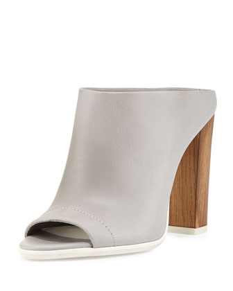 Allison Peep-Toe Mule Slide, Steel