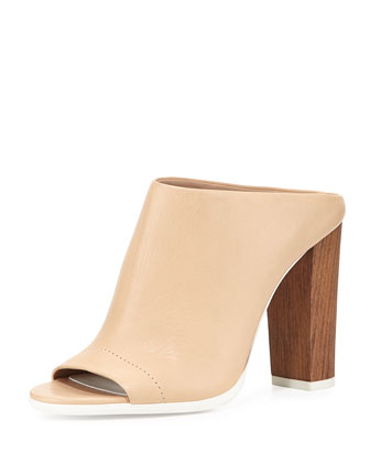 Allison Leather Peep-Toe Mule, Nude