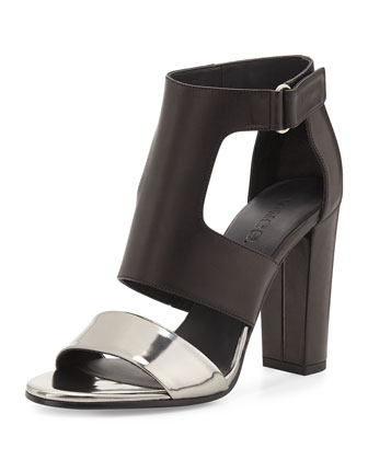 Aretha Leather T-Strap Sandal, Pewter/Black