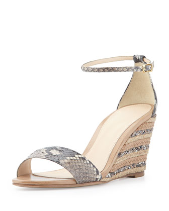 Python and Leather Demi Wedge Sandal, Black/Nude