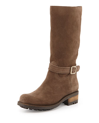 Chance Suede Buckle Boot, Gray
