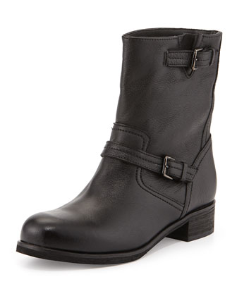 Courtney Leather Ankle Boot, Black