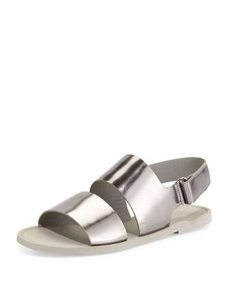 Sorce Metallic Slingback Sandal, Pewter