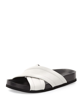 Orson Leather Crisscross Slide, Bone